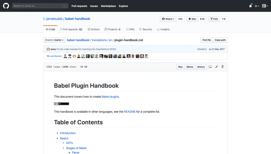Screenshot of https://github.com/jamiebuilds/babel-handbook/blob/master/translations/en/plugin-handbook.md#toc-writing-your-first-babel-plugin
