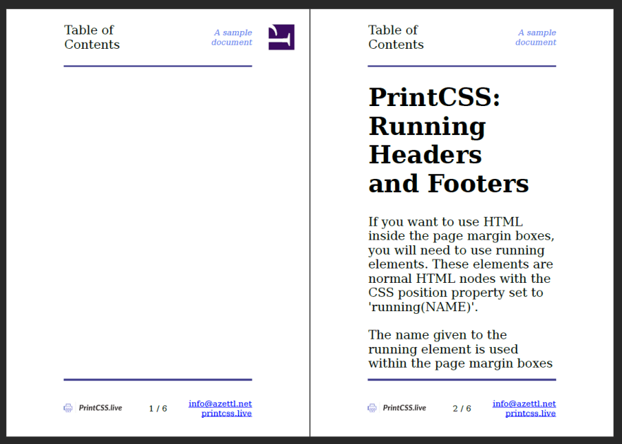 Rendering Result with Prince, showing the first page empty.