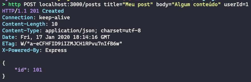 """imagem do terminal, mostrando um comando para realizar uma requisição POST, e o resultado, que é um JSON com um campo """"id"""" e valor 101"""