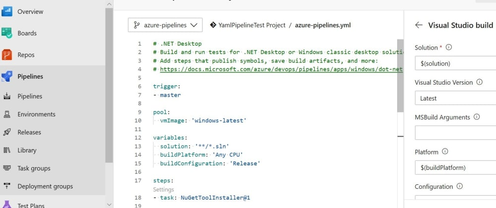 Cover image for Azure DevOps YAML build pipeline : How to use variables?