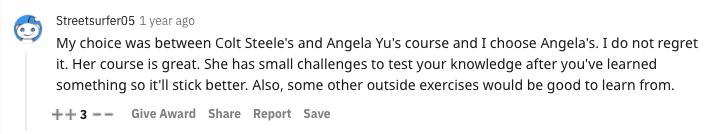 reddit recommendation for angela yu's web development course