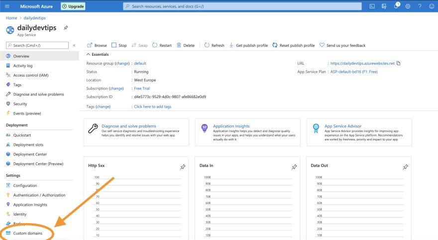 Azure custom domains section