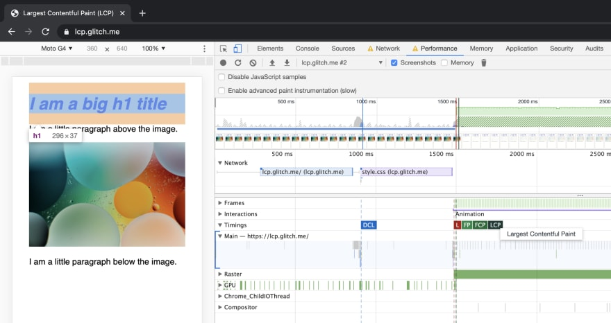 Chrome DevTools Performance audit with a fade-in animation