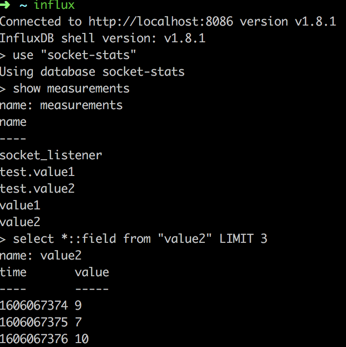 Influx CLI example