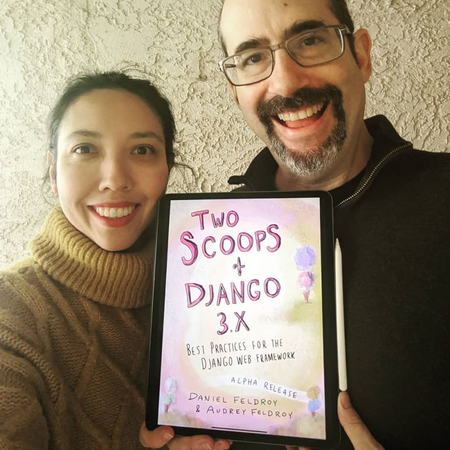 Image of Daniel and Audrey holding Two Scoops of Django 3.x