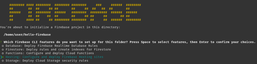 Firebase init component selection screen