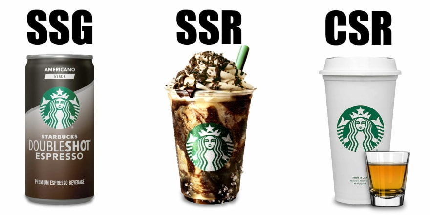 Starbucks drinks: A Doubleshot (as SSG), fancy TikTok special order (as SSR), and coffee with a shot of whisky (as CSR).