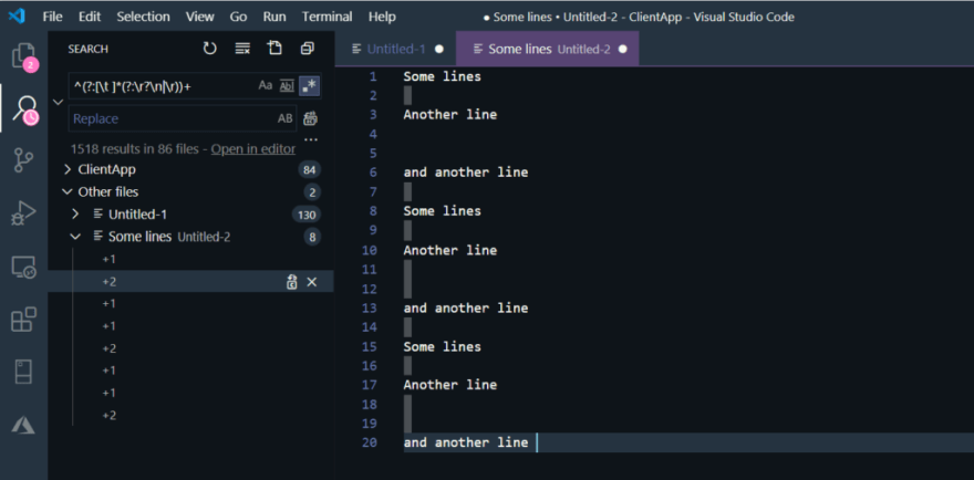 Removing empty lines using regular expression in Visual Studio Code