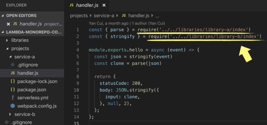 AWS Lambda: how to share code between functions in a