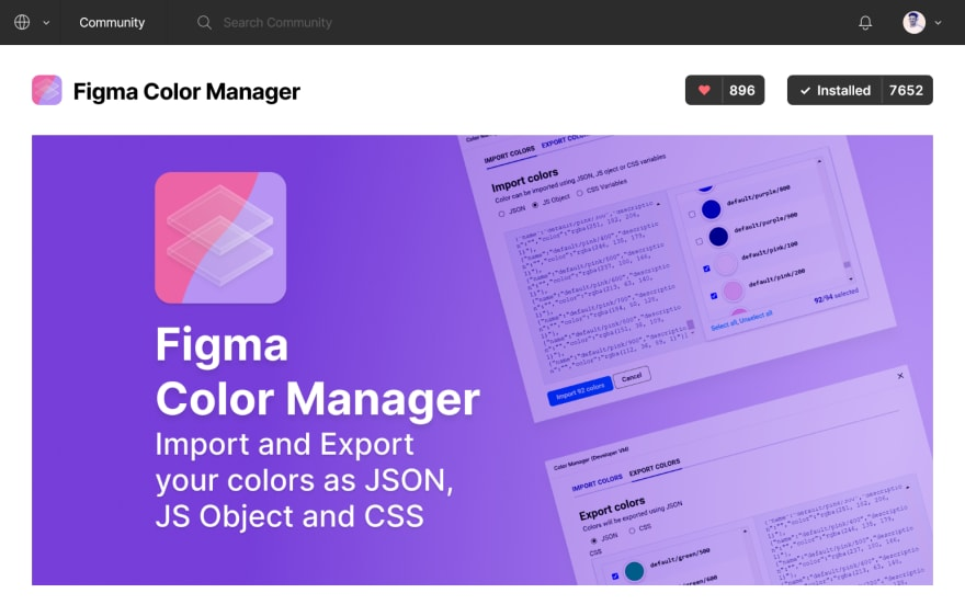 Figma Color Manager on the figma community plugin repository