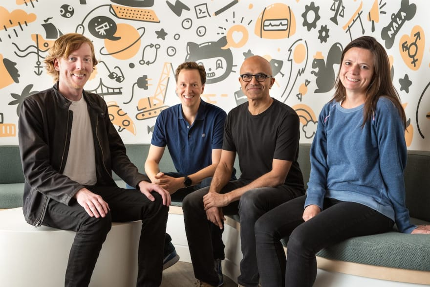 Chris Wanstrath (left), Github CEO and co-founder; Nat Friedman, Microsoft corporate vice president, Developer Services; Satya Nadella, Microsoft CEO; and Amy Hood, Microsoft Chief Financial Officer