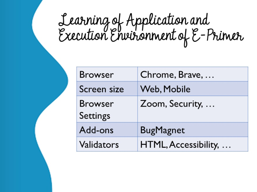 Learning of Application and Execution Environment of E-Primer