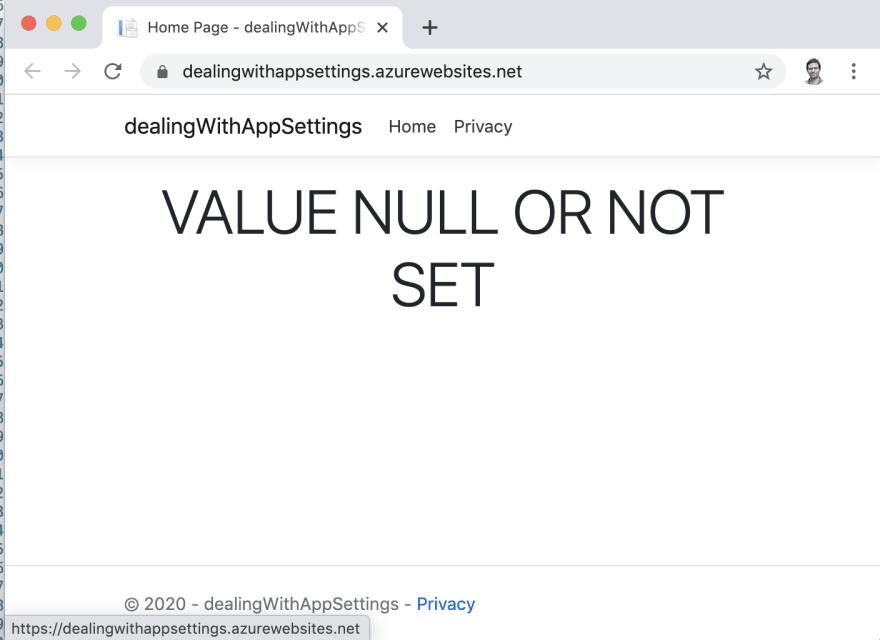 app setting not set