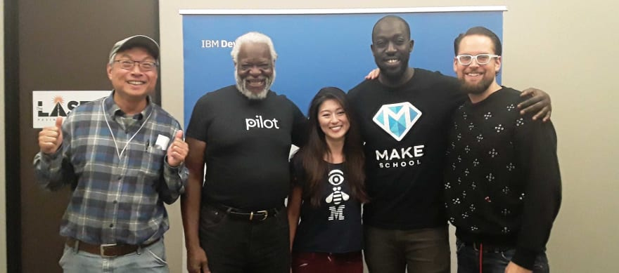 Lisa with community members after a meetup