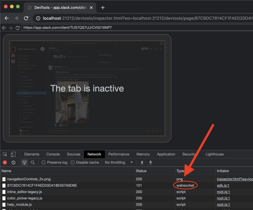 Find the 'websocket' request