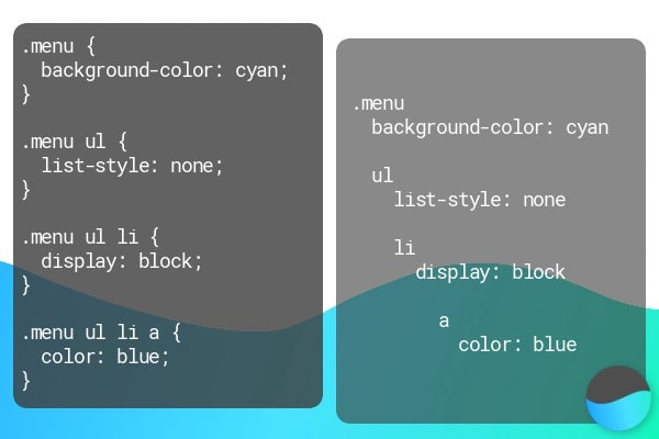 Clean parent to selector sass compared to css