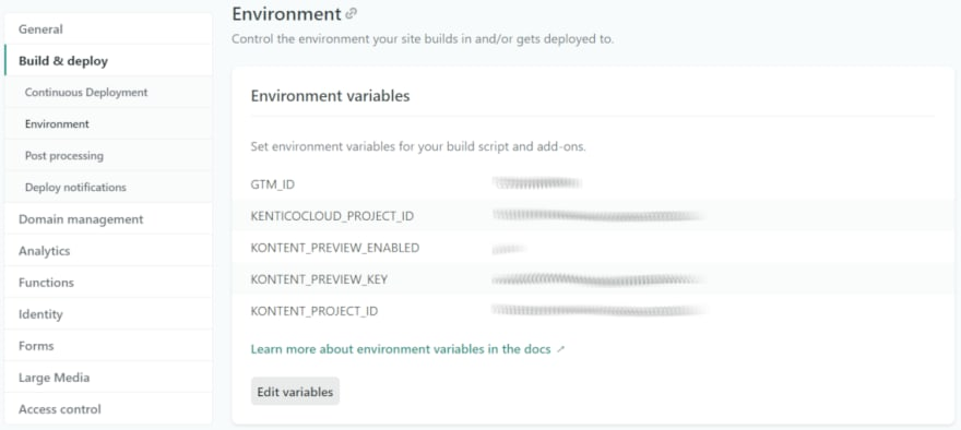 Netlify Environment Variables Screenshot
