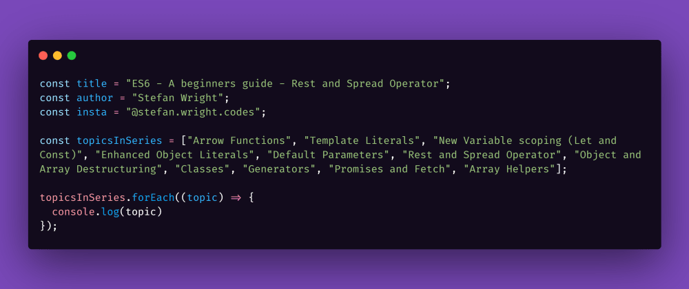 Cover image for ES6 - A beginners guide - Rest and Spread Operator