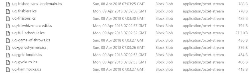 ICS files listing