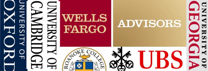 Banner of company logos using serif fonts