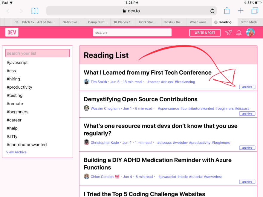 "screenshot of the dev.to reading list, with an arrow pointing to the ""archive"" option"