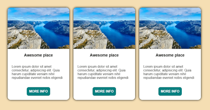 Example Grid Of Cards With Elements Aligned