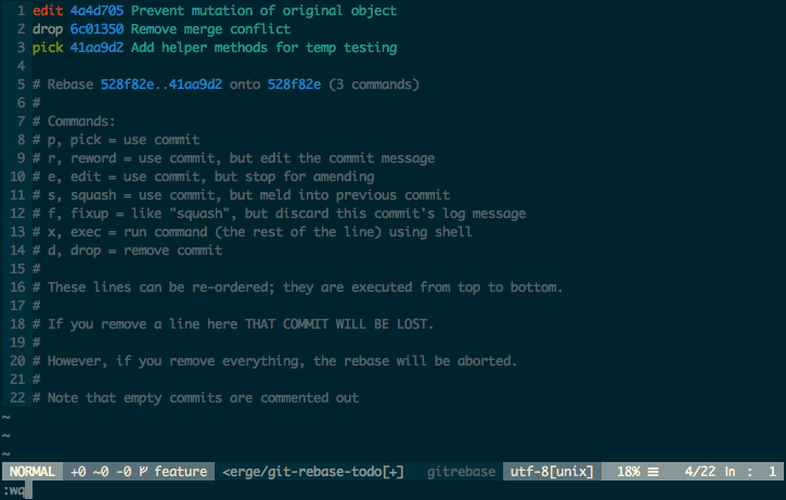 Vim window with list of changed commits