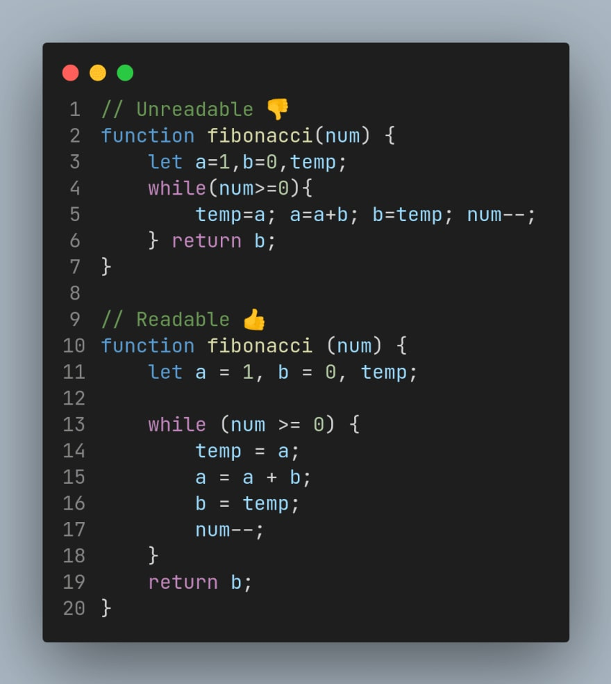 Readable code example