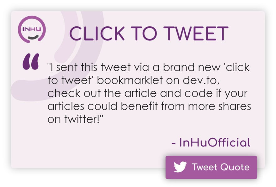 """Click to Tweet: """"I sent this tweet via a brand new 'click to tweet' bookmarklet on dev.to, check out the article and code if your articles could benefit from more shares on twitter!"""""""