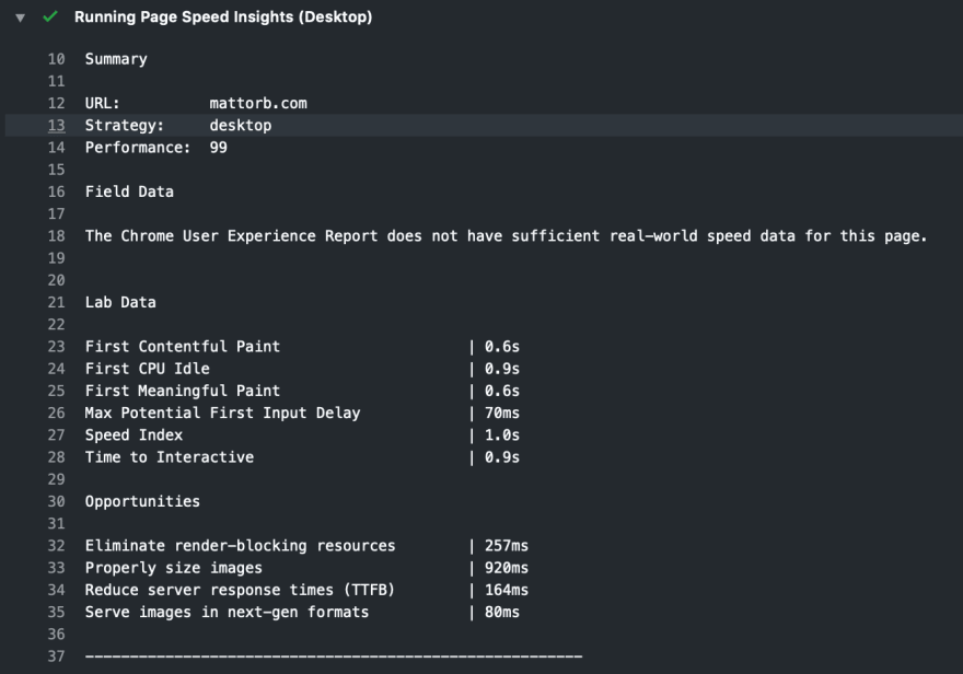 Github Action for Google PageSpeed Insights