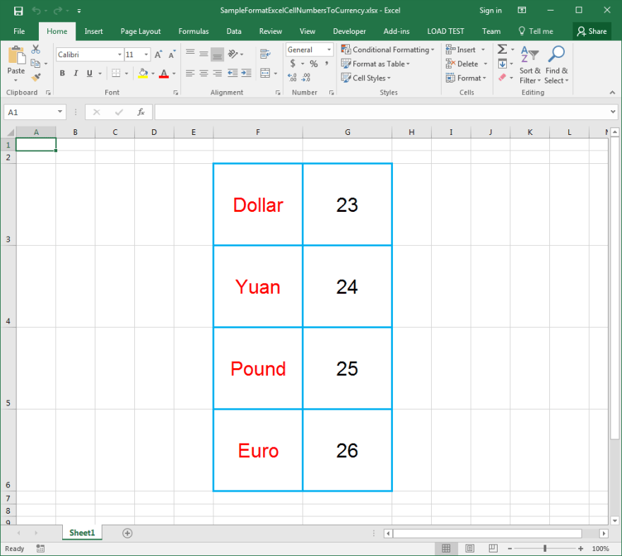 Currency formats will be applied on Input Excel file Cells using Aspose.Cells API.