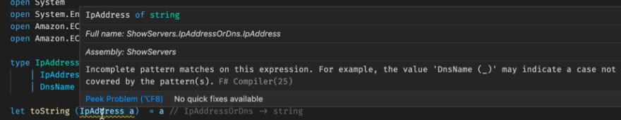 Case error for toString function