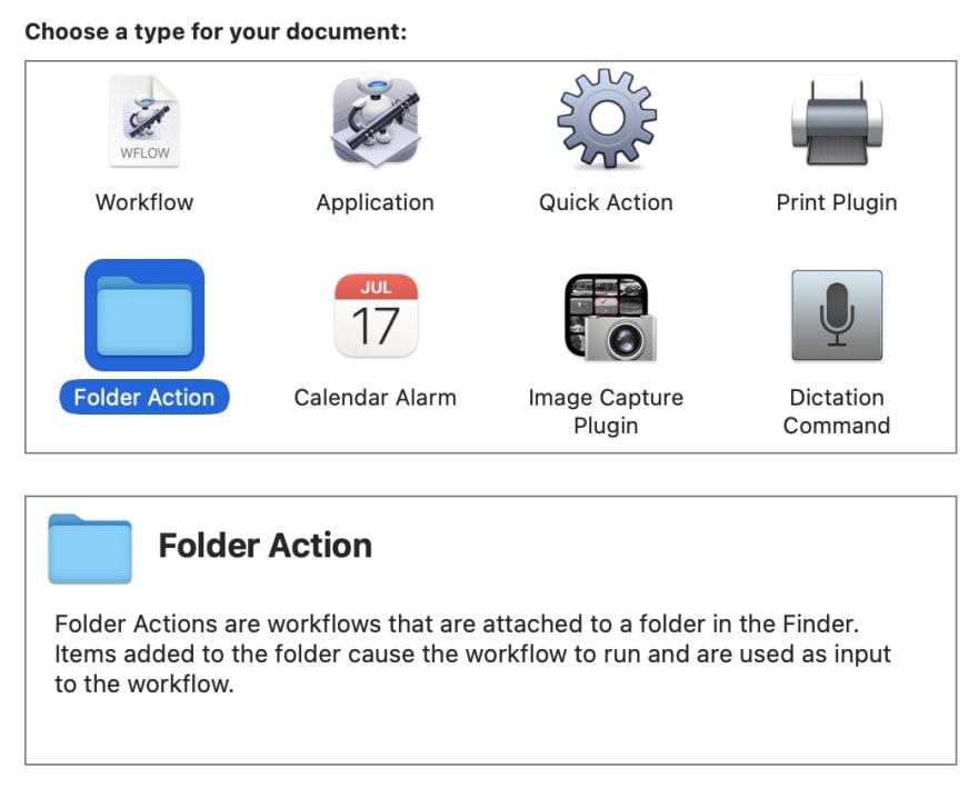 Choose folder action type