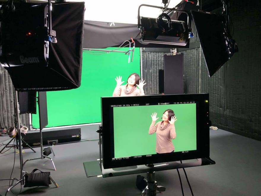 Hiro recording at LinkedIn Learning HQ