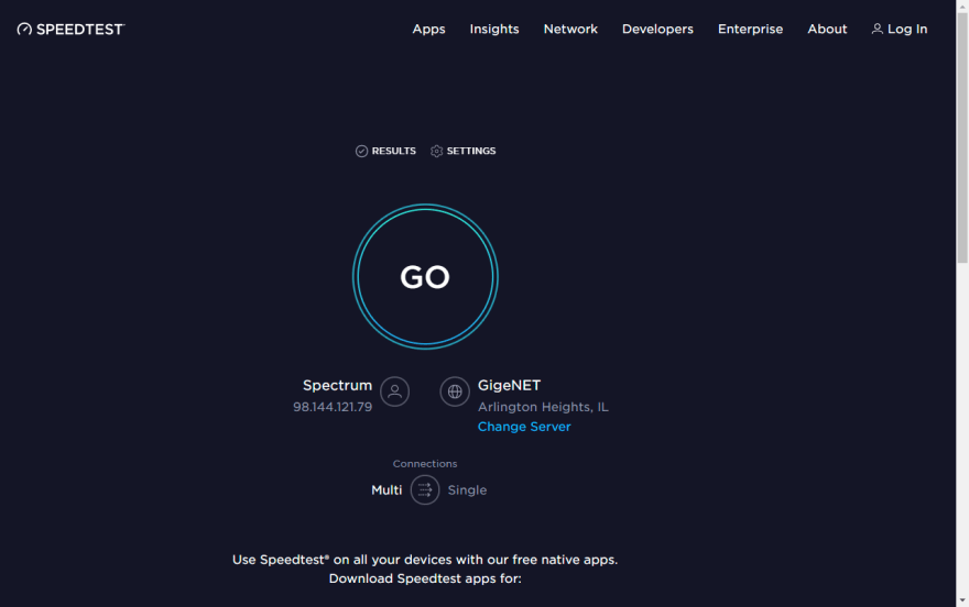 Screenshot of speedtest.net with ads blocked.