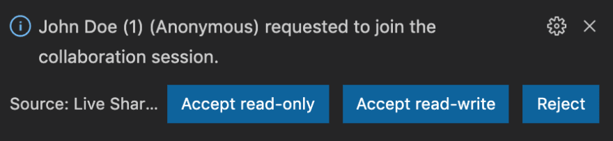 Accept or reject requests to join your session