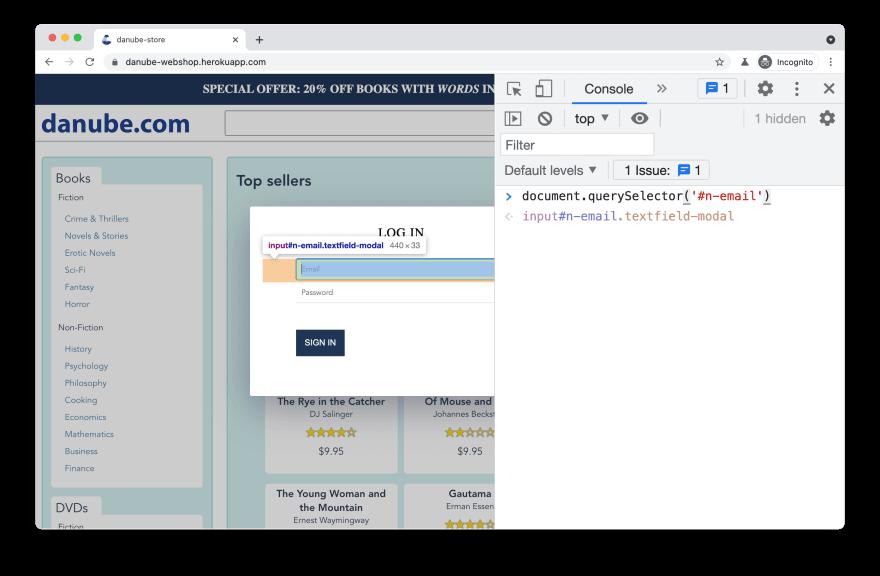 debugging selectors in browser console