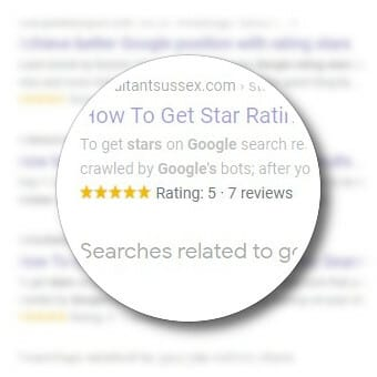 showing google search results with some rating stars