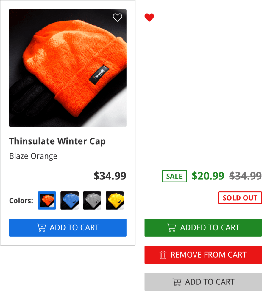 "An ecommerce listing component design, with color-coded states for various component states, like ""sold out"", ""added to cart"", ""remove from cart"", etc."