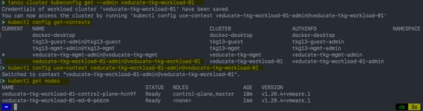 Deploy Tanzu Kubernetes Guest cluster to Azure - tanzu cluster kubeconfig get --admin - kubectl config use-context