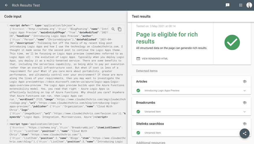 Example schema.org validation in Google Rich Results Test