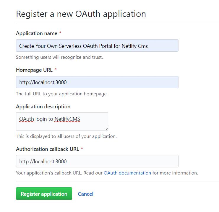 GitHub Register OAuth App