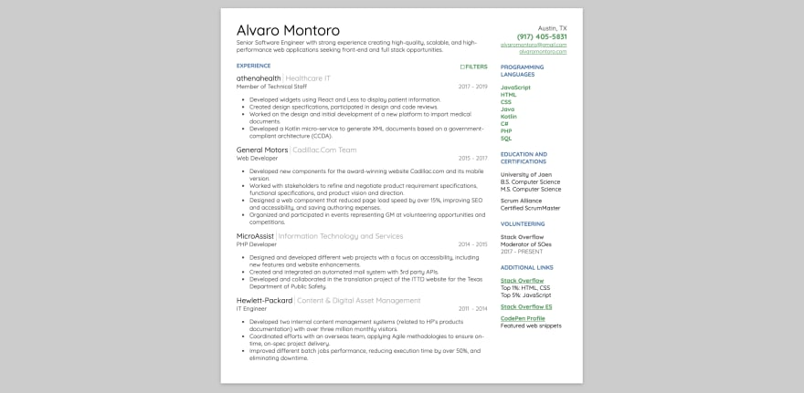 Screenshot of classic-looking interactive resume