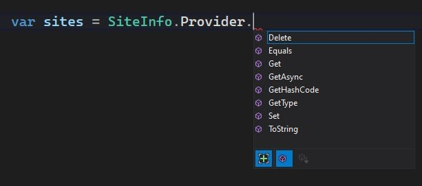 Intellisense list of ISiteInfoProvider methods