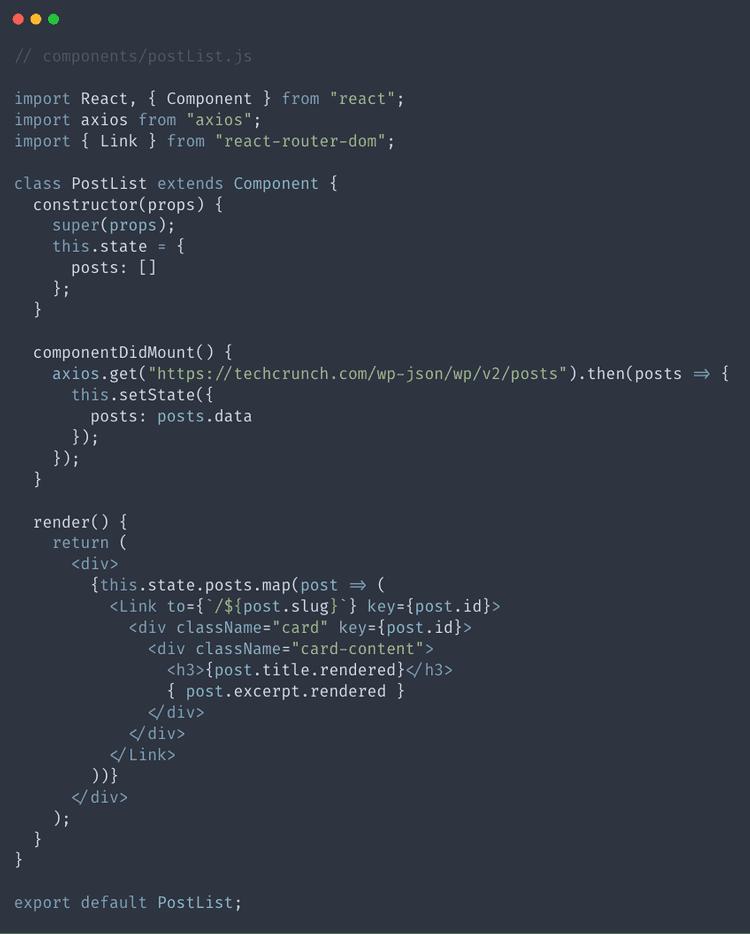 Add render method to PostList.js