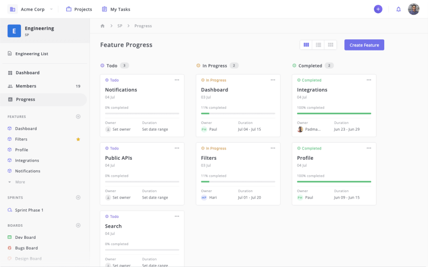 Prioritize features and track progress in Zepel