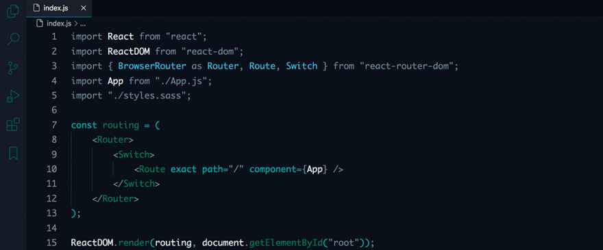 React code snippet with the Sea Green theme