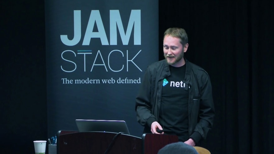 Mathias Biilmann talking about the JAMStack