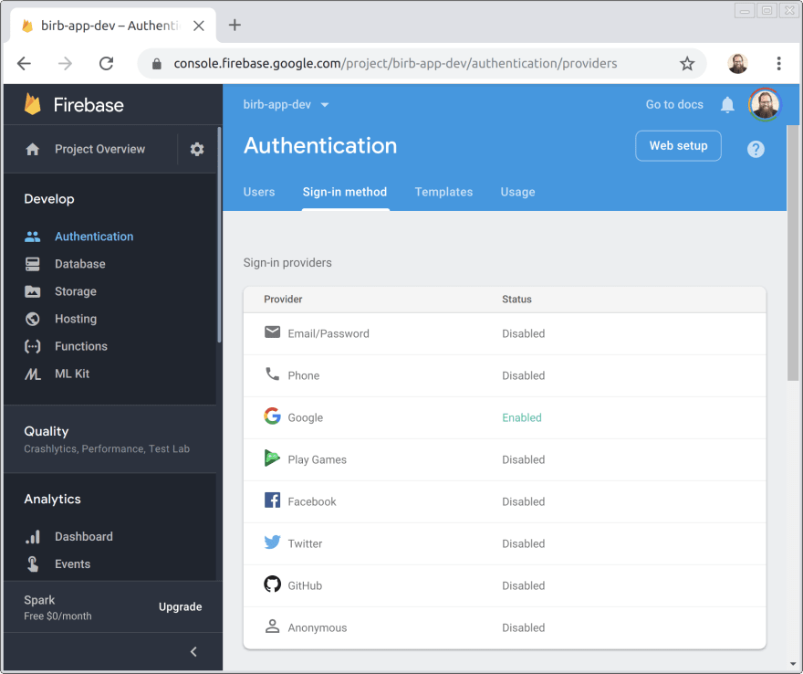 list of Firebase Auth providers