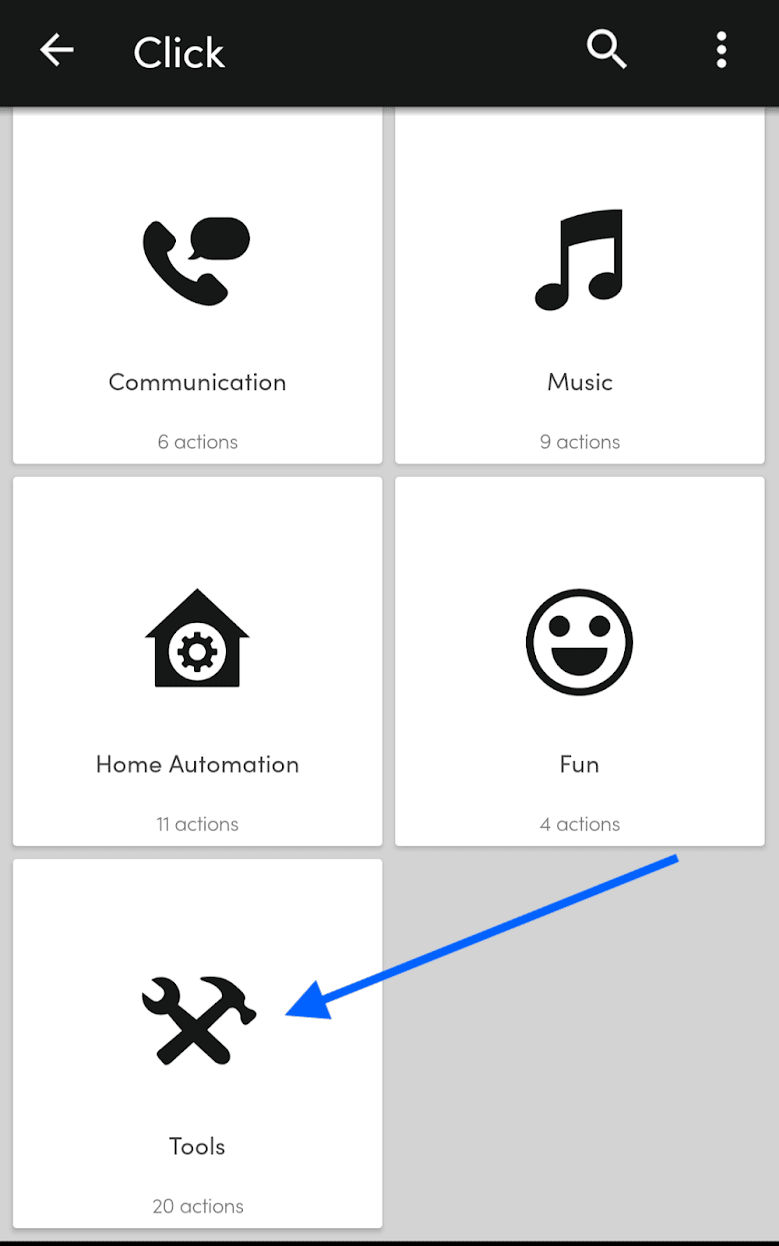 """Screenshot o the Flick button UI where you can pick categories of action. There is an arrow pointing to """"Tools"""" which is the category we want."""